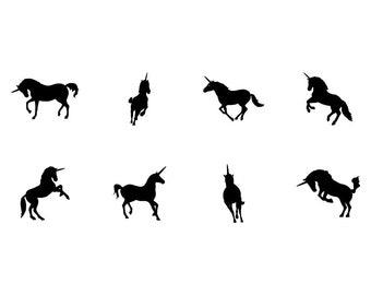 Unicorns - Download Digital Clipart Silhouette Vector Files