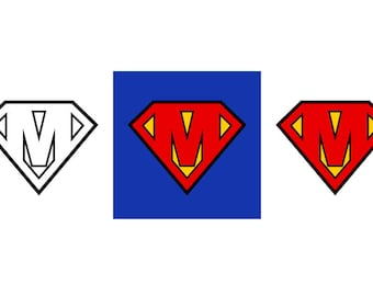 Superman Letter M - Download Digital Clipart Silhouette Vector Files