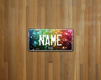 Personalised Rainbow Glitter License Plate (choose your text, color, size, material)