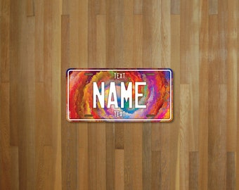 Personalised License Plate Rainbow Swirl (choose your text, color, size, material)