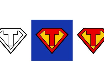 Superman Letter T - Download Digital Clipart Silhouette Vector Files