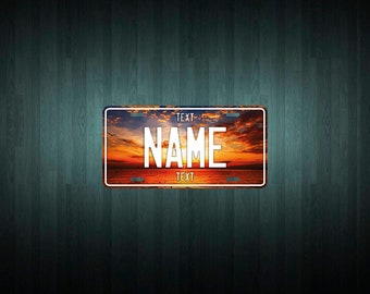 Custom Sunset over water License Plate (choose your text, color, size, material)