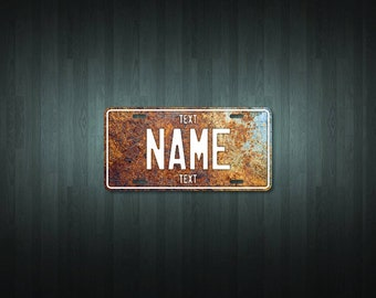 Personalised Rusty Steel License Plate (choose your text, color, size, material)