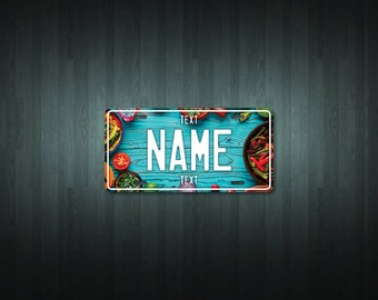 Personalised Mexican Food License Plate (choose your text, color, size, material)