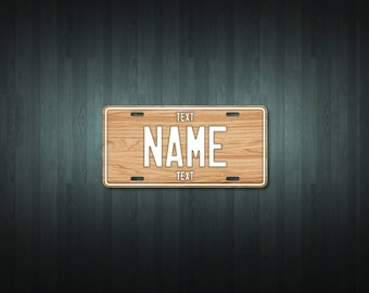Personalised Wood License Plate (choose your text, color, size, material)
