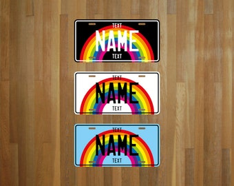 Custom Rainbow Cartoon Style License Plate (choose your text, color, size, material)