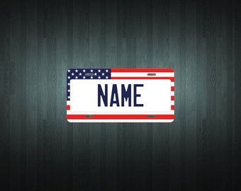 Custom American Flag Style License Plate (choose your text, size, material)