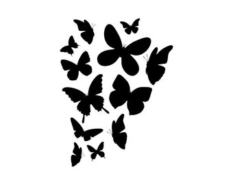 Butterflies - Download Digital Clipart Silhouette Vector Files