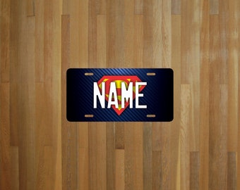 Custom Superman Style License Plate (choose your text, color, size, material)