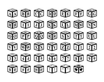 Alphabet Letter Blocks - Download Digital Clipart Silhouette Vector Files