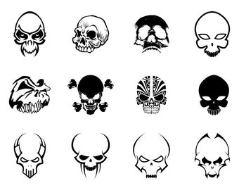 Skulls - Download Digital Clipart Silhouette Vector Files