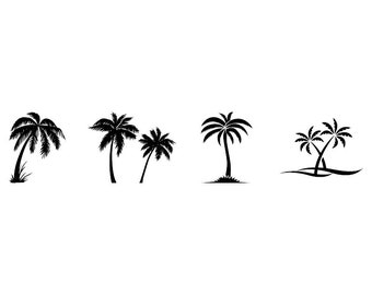 Palm Trees - Download Digital Clipart Silhouette Vector Files