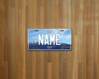 Personalised Mountain License Plate (choose your text, color, size, material)