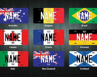 Personalized International Flag Metal License Plate (choose your text, design, size)