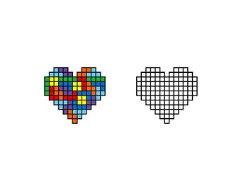Tetris Heart - Download Digital Clipart Silhouette Vector Files