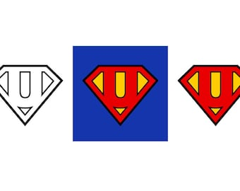 Superman Letter U - Download Digital Clipart Silhouette Vector Files