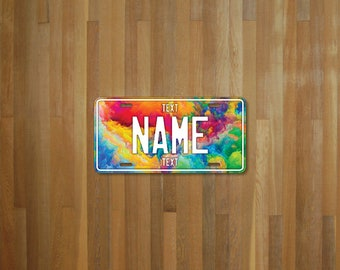 Personalised License Plate Rainbow Clouds (choose your text, color, size, material)