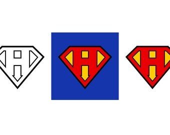 Superman Letter H - Download Digital Clipart Silhouette Vector Files