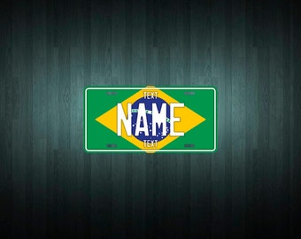 Custom Brazil License Plate (choose your text, size, material)