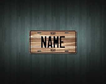 Personalised Dark Wood License Plate (choose your text, color, size, material)