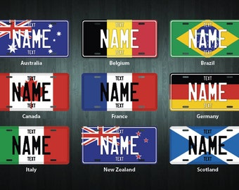 Personalized Country License Plate (choose your text, country, size, material)
