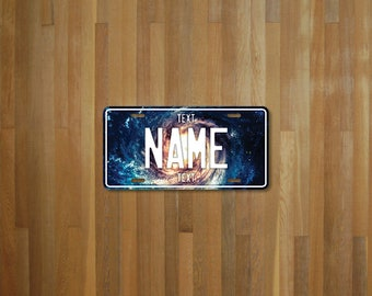 Personalised Galaxy License Plate (choose your text, color, size, material)