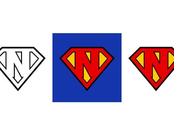 Superman Letter N - Download Digital Clipart Silhouette Vector Files
