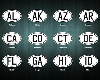 USA State Designation Oval stickers