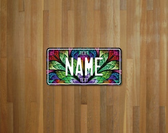 Stained Glass License Plate (choose your text, size, material)