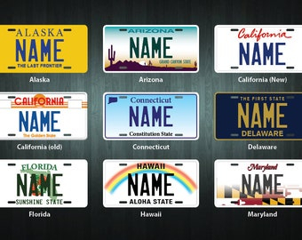 Custom Mini USA State License Plate (choose your text, state, size, material)