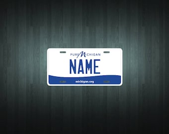 Custom Michigan Style License Plate (choose your text, size, material)