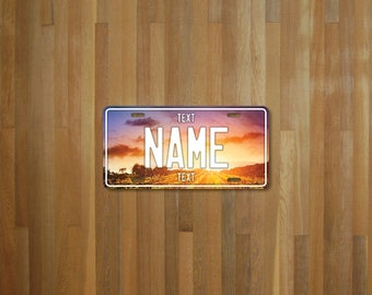 Personalised Sunset Field License Plate (choose your text, color, size, material)