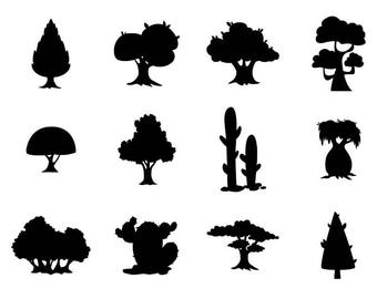 Cartoon Trees - Download Digital Clipart Silhouette Vector Files