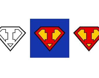 Superman Letter I - Download Digital Clipart Silhouette Vector Files
