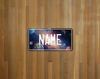 Personalised planets License Plate (choose your text, color, size, material)