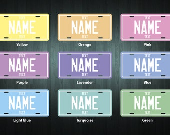 NEW! Personalized Pastel Colored License Plate (choose your text, color, size, material)