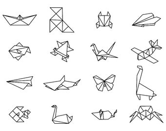Origami Shapes - Download Digital Clipart Silhouette Vector Files
