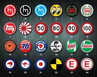 Automotive themed Round Stickers (24+ designs to choose from)