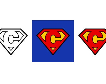 Superman Letter C - Download Digital Clipart Silhouette Vector Files