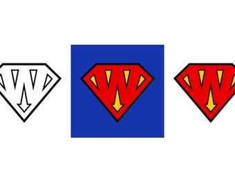 Superman Letter W - Download Digital Clipart Silhouette Vector Files