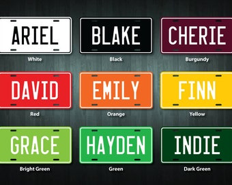 Personalized Metal License Plate (choose your text, color, size)
