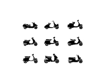 Scooter - Download Digital Clipart Silhouette Vector Files