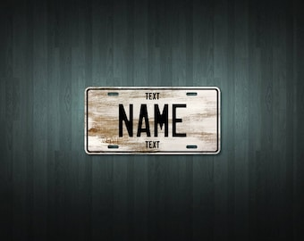 Personalised White Wood License Plate (choose your text, color, size, material)
