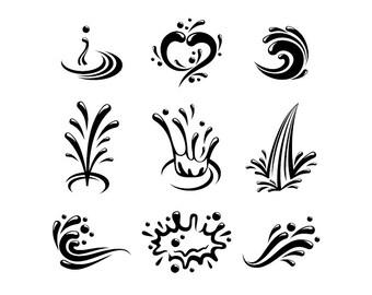 Water Splash - Download Digital Clipart Silhouette Vector Files