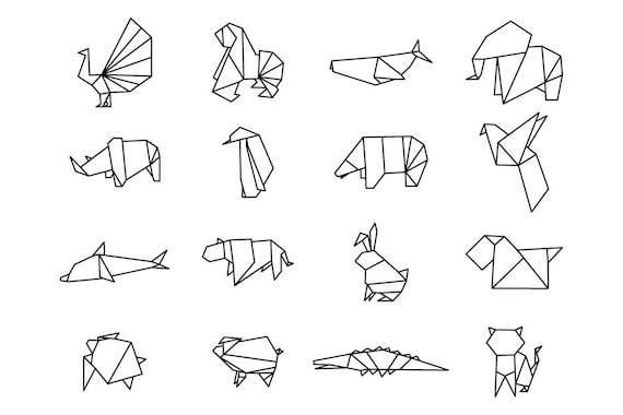 Origami Animals Download Digital Clipart Silhouette Vector Etsy - Origamis-animales