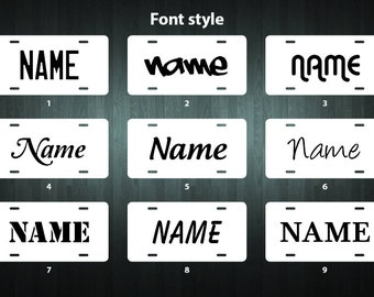 NEW! Deluxe Personalized License Plate (choose your font, border, background, size and material)