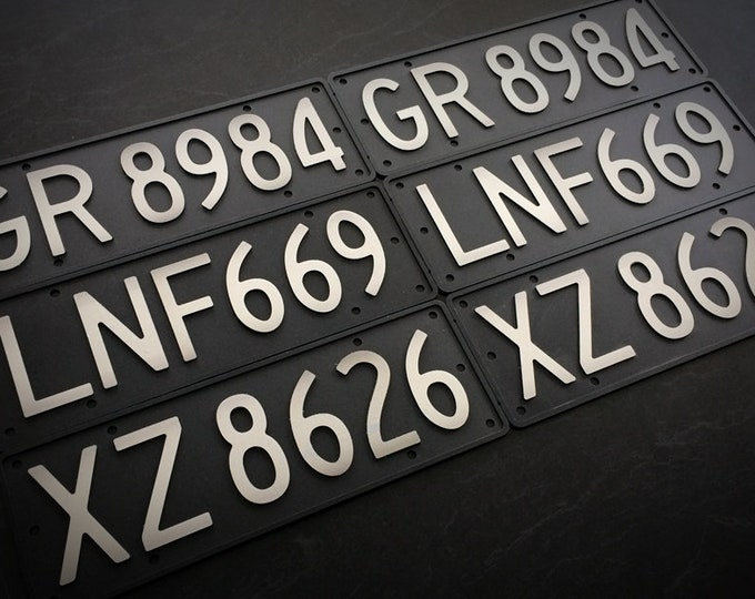 Featured listing image: Replica Old School Black NZ Number Plates (alloy, 3D)