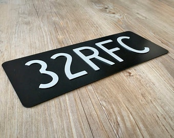 Create Your Own Old School Black Motorcycle Number Plate