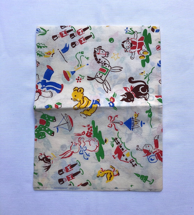 Nursery Bright Coloured Gift Wrap Wrapping Paper Vintage Animals Toys