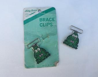 Vintage | Frog | Children's | Metal Brace Clips | Fasteners